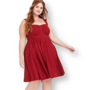Torrid Scarlet Red Challis Skater Dress  - Large